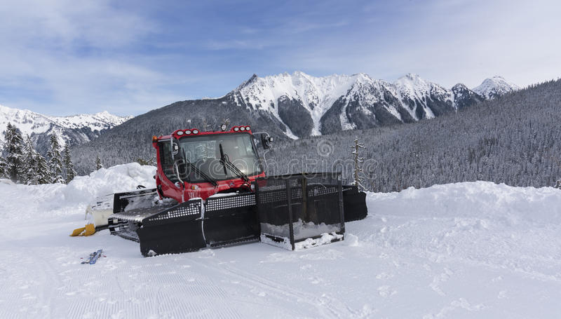 Snow Plow in the Mountains stock image