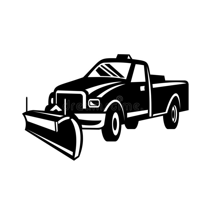 Free Snow Plow Pick-Up Truck Retro Side View Black And White Stock Images - 191222344