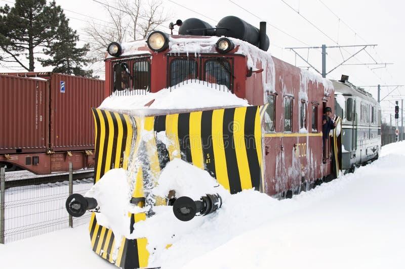 Snow plow train - RAW format royalty free stock photo