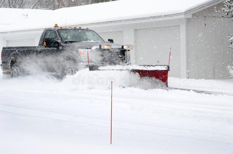 snow plowing job stock photo