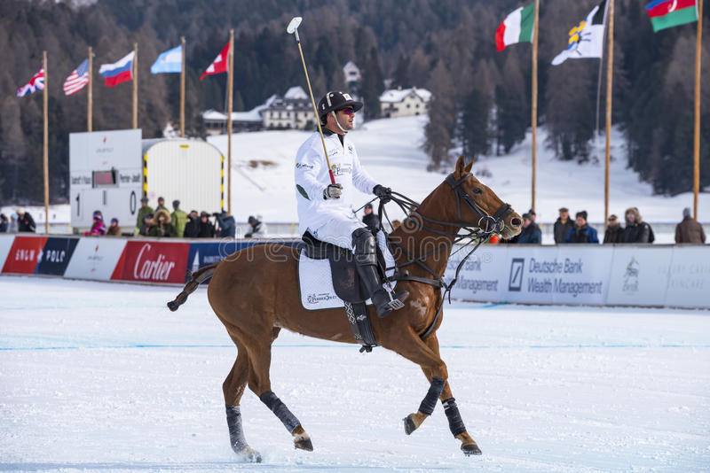 Snow Polo Cup 2017 Sankt Moritz. Sankt Moritz Switzerland 28/01/2017: Picture of the Snow Polo World Cup event royalty free stock images