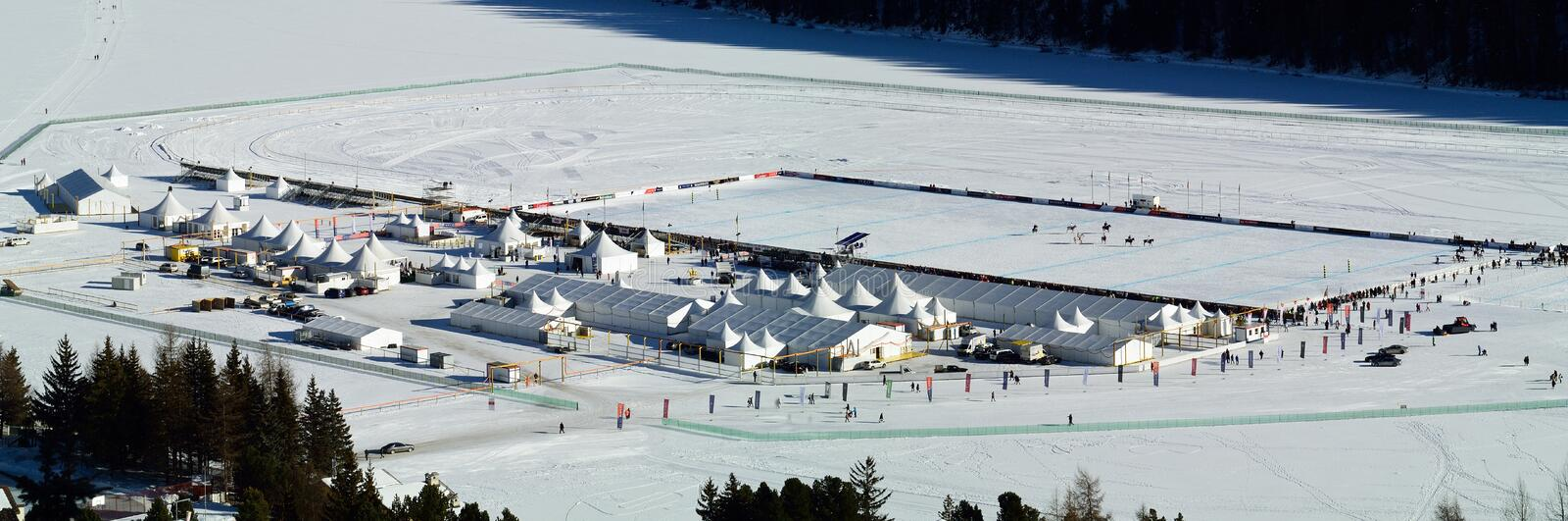 Snow Polo Lake Area. The playground for Snow Polo World Cup 2016 on Sankt Moritzersee - Switzerland royalty free stock photo