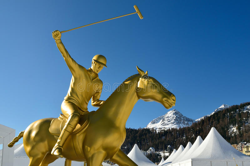 Snow Polo Statue royalty free stock images