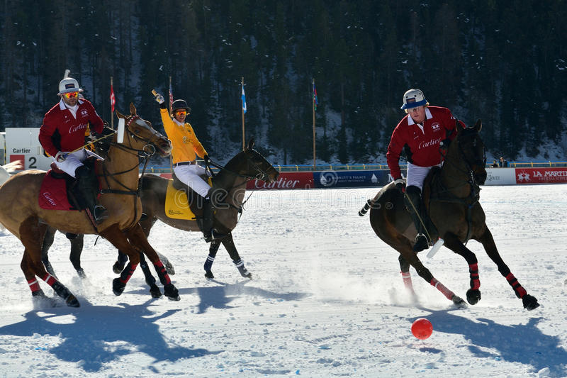 Snow Polo. 32th snow polo world cup 2016 in St. Moritz - Switzerland stock image