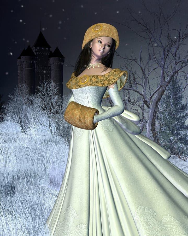 Snow Princess and Fairytale Castle vector illustration