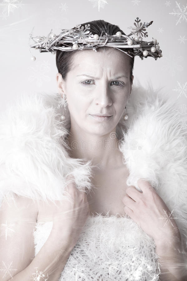 Snow Queen. Frowning snow queen, ready for winter to begin