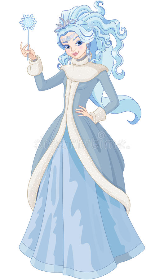 The Snow Queen. Illustration of Snow Queen holding magic wand royalty free illustration
