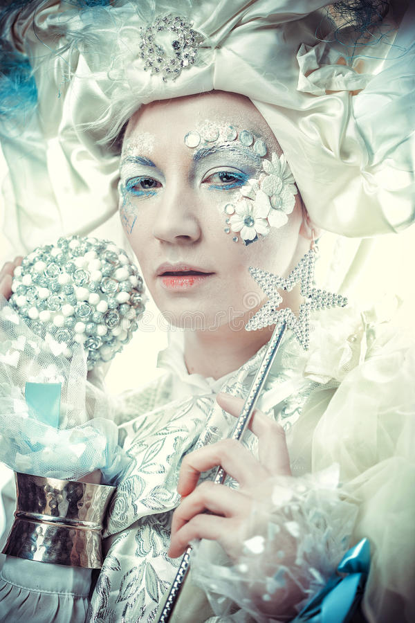 Snow Queen over white background stock images