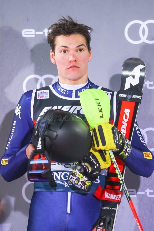 Snow Queen Trophy 2020 Mens Slalom Award ceremony stock photography