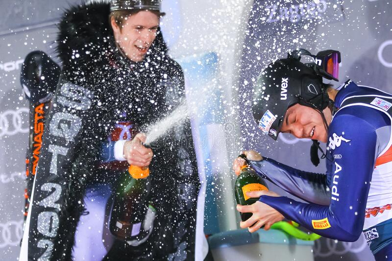 Snow Queen Trophy 2020 Mens Slalom Award ceremony stock images