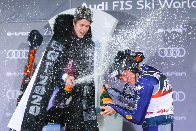 Snow Queen Trophy 2020 Mens Slalom Award ceremony royalty free stock image