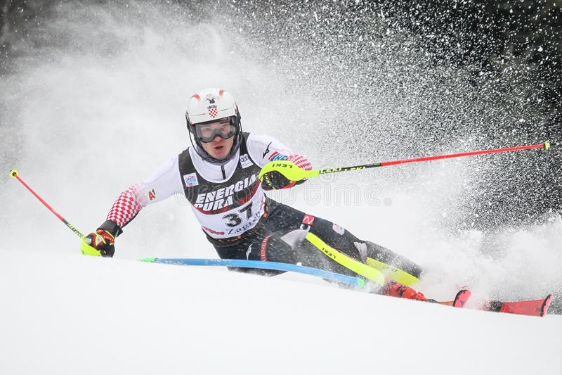 Snow Queen Trophy 2019 Mens Slalom royalty free stock photos