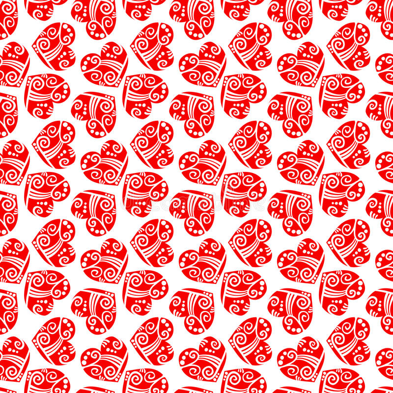 Snow Red Hearts Seamless Background stock images