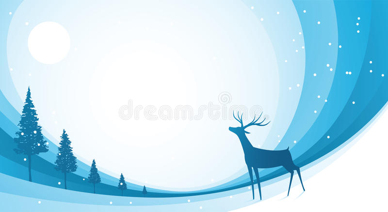 Snow Reindeer Blue Stock Image