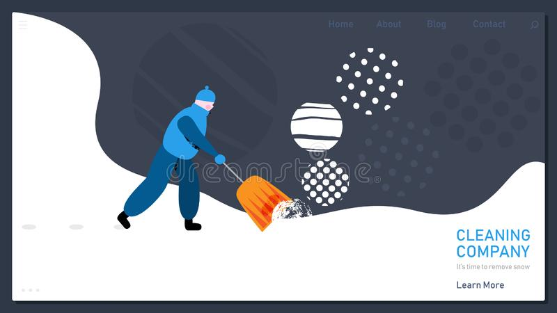 Snow removal concept for home web page. Charming man removals snow. Vector illustration in modern cartoon flat style stock illustration
