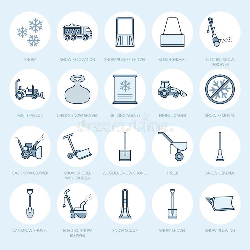 Snow removal flat line icons. Ice relocation service signs. Cold weather equipment - snow thrower, blower, truck, front. Loader, snow shovel. Vector royalty free illustration