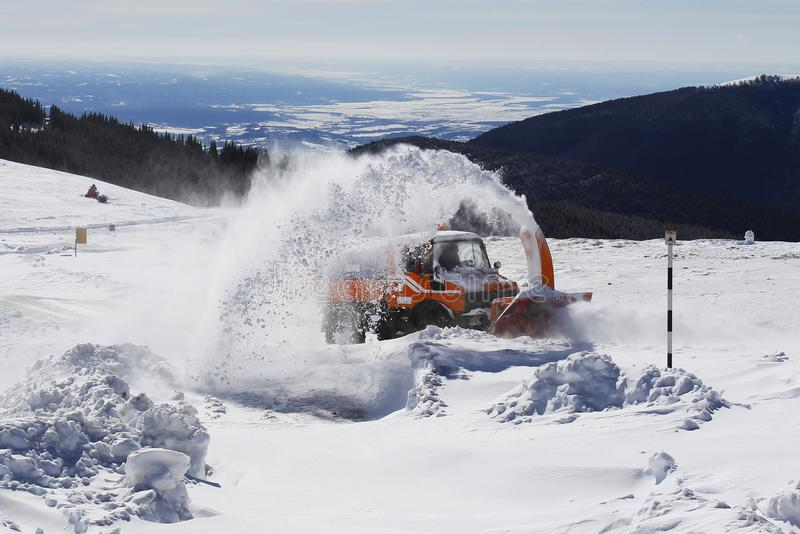 Download Snow Removal Machine Blower On Mountain Road Stock Image - Image of visible, blower: 106220017