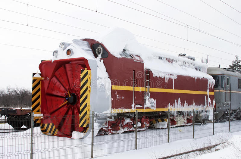 Snow removal train stock image
