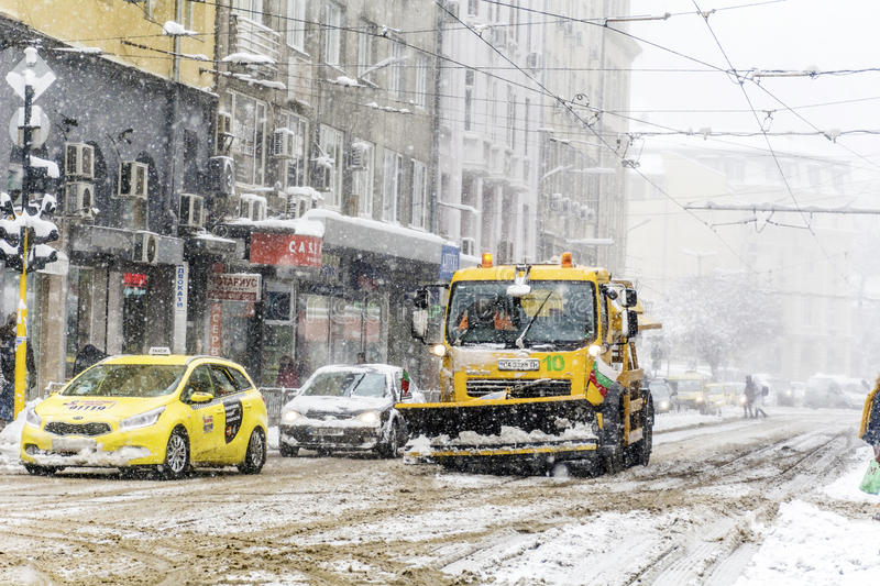 Download Snow Removal Truck In Sofia,Bulgaria Editorial Photography - Image of city, falling: 83720962