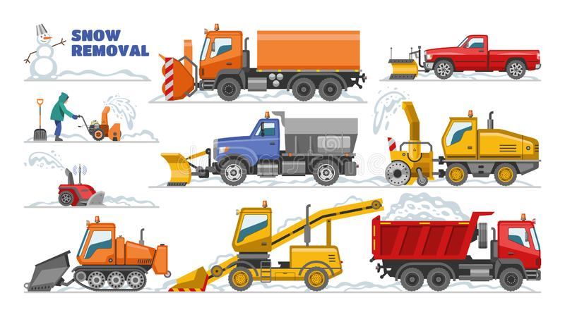 Snow removal vector winter machine snowplow equipment tractor cleaning removing snow illustration set of truck. Snowblower excavator bulldozer vehicle stock illustration