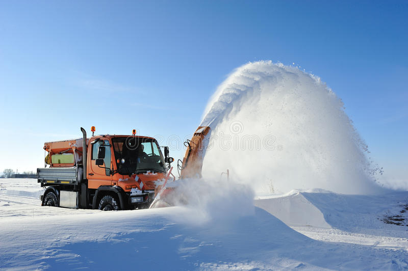 Snow removal working royalty free stock images