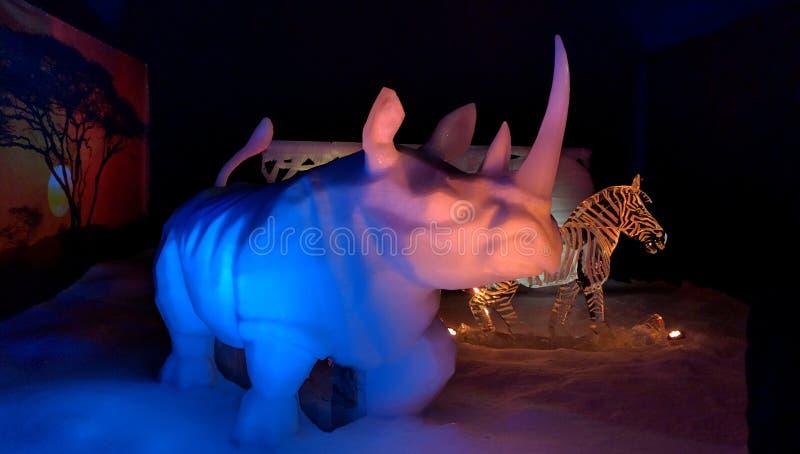 Snow rhino ice scuplture royalty free stock image