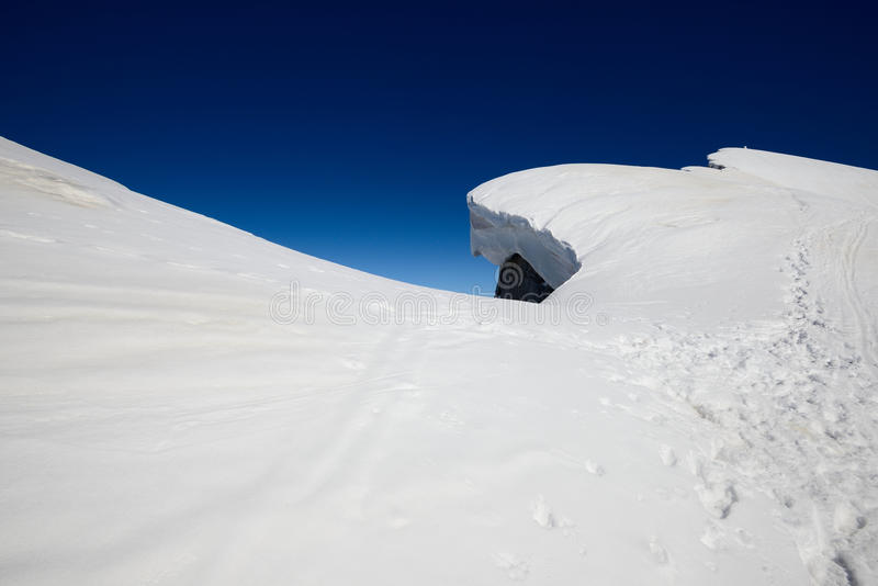 Snow ridge. At the top of Arera Mount Lombardy Italy Alps winter mountaineering royalty free stock photo