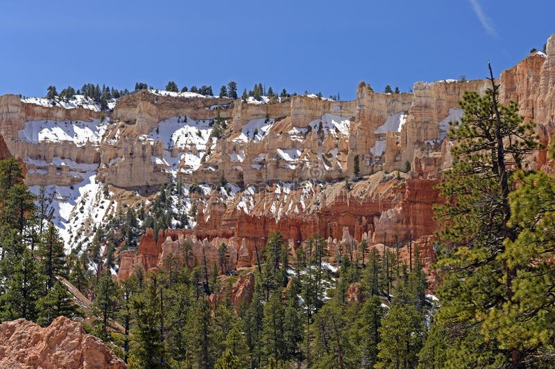Snow on the Ridge Tops. In Bryce Canyon National Park in Utah royalty free stock photos