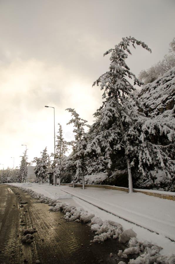 Snow road stock photo