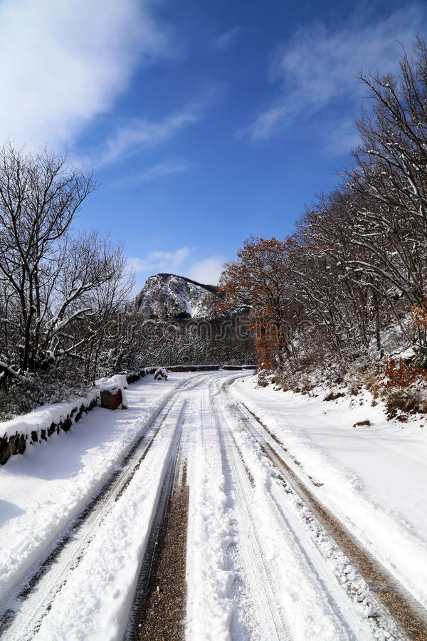 Snow on the road. royalty free stock photos