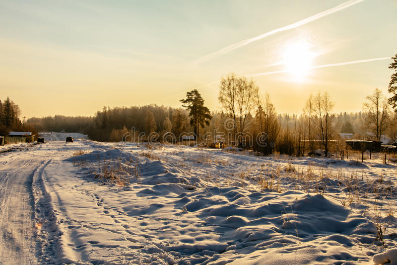 Snow road at sunrise_8 stock photo