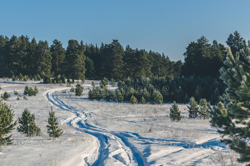 Snow road up and down - wavy - trees - ski race - weather forecast - bumpy road. Crosscountry race stock photography