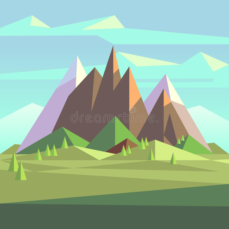 Free Snow Rock Mountains Landscape In Low Poly Vector Style Royalty Free Stock Image - 81449636