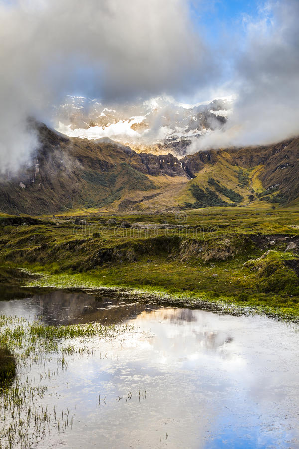 Snow, rocks and river in Collanes Valley in El Altar volcano stock images