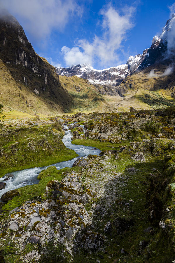 Snow, rocks and river in El Altar volcano royalty free stock photography