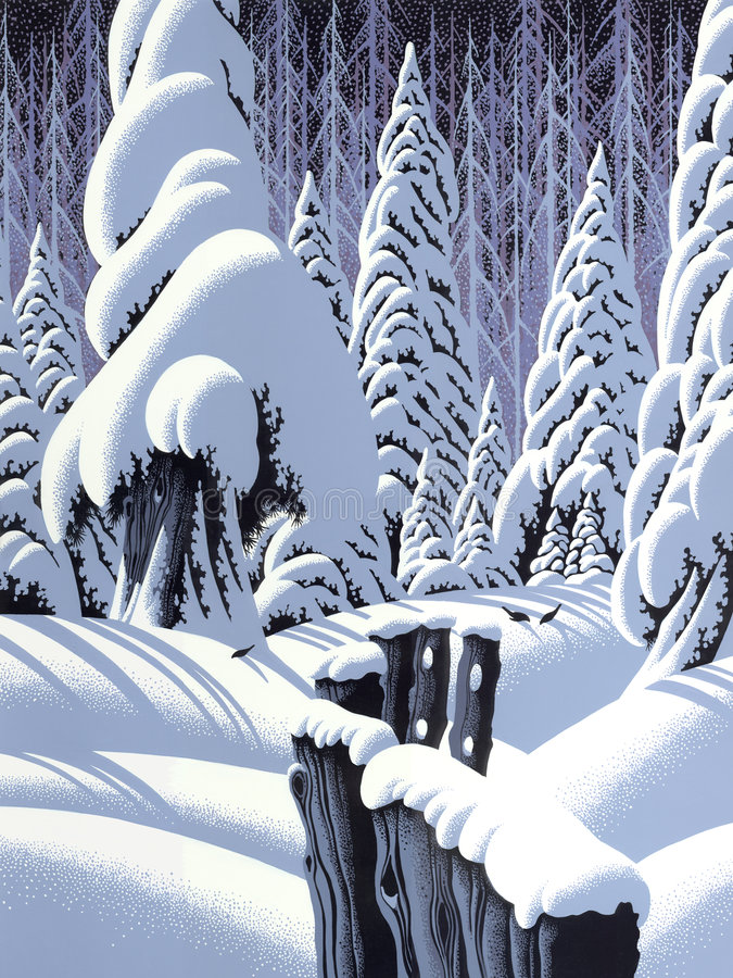 Snow Scene with Fence. Image from an 18x24 original painting by Larry Jacobsen. / S-001 royalty free illustration