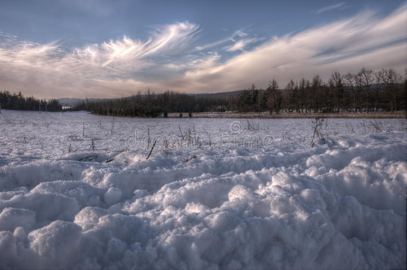Snow scene in HDR stock photography