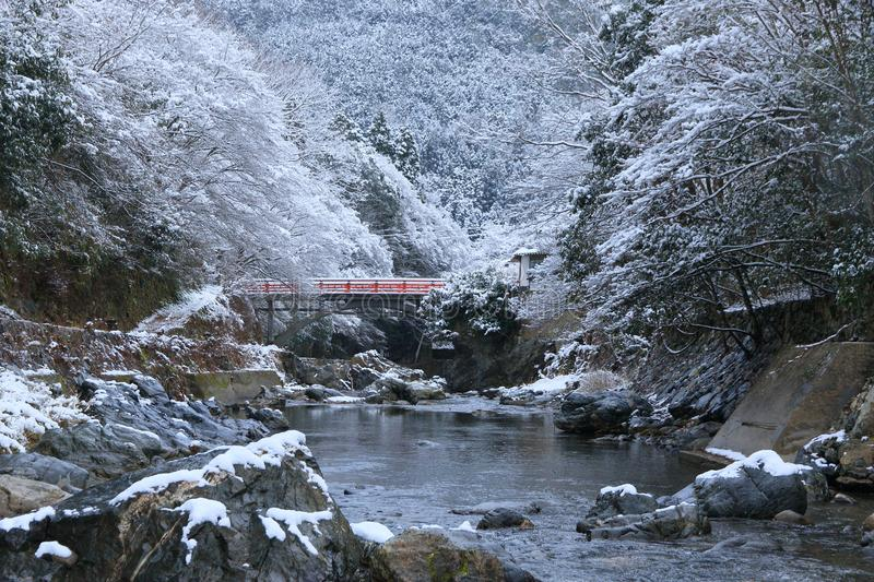Snow scene of Kiyotaki river, Kyoto. This is a snow scene of Kiyotaki river in suburbs of Kyoto. It snowed for the first time in this winter.it was wholly silent royalty free stock photos