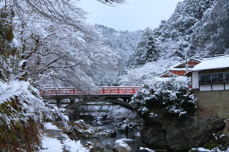 Snow scene of Kiyotaki river, Kyoto. This is a snow scene of Kiyotaki river in suburbs of Kyoto. It snowed for the first time in this winter.it was wholly silent stock photo