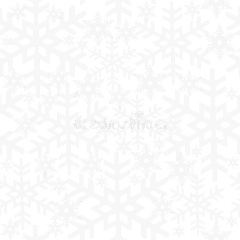 Snow Seamless Tile. Light grey arranged snow cristals on white background. Seamless tile stock illustration