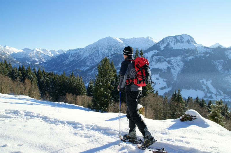Snow shoe hiking stock photography