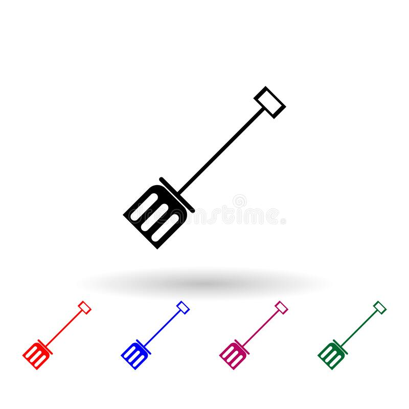 Snow shovel multi color icon. Simple glyph, flat vector of winter icons for ui and ux, website or mobile application stock illustration