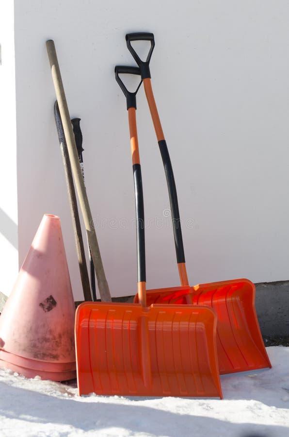 Snow Shovels royalty free stock image