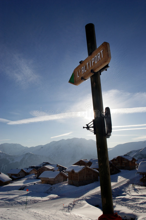 Download Snow sign stock image. Image of housing, wood, sunshine - 84155