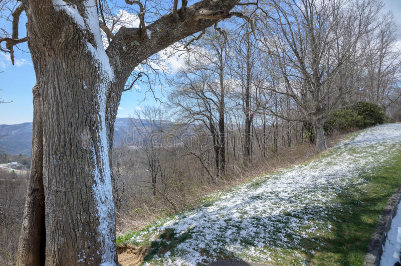 Snow on Spring at Blue Ridge Parkway stock photography