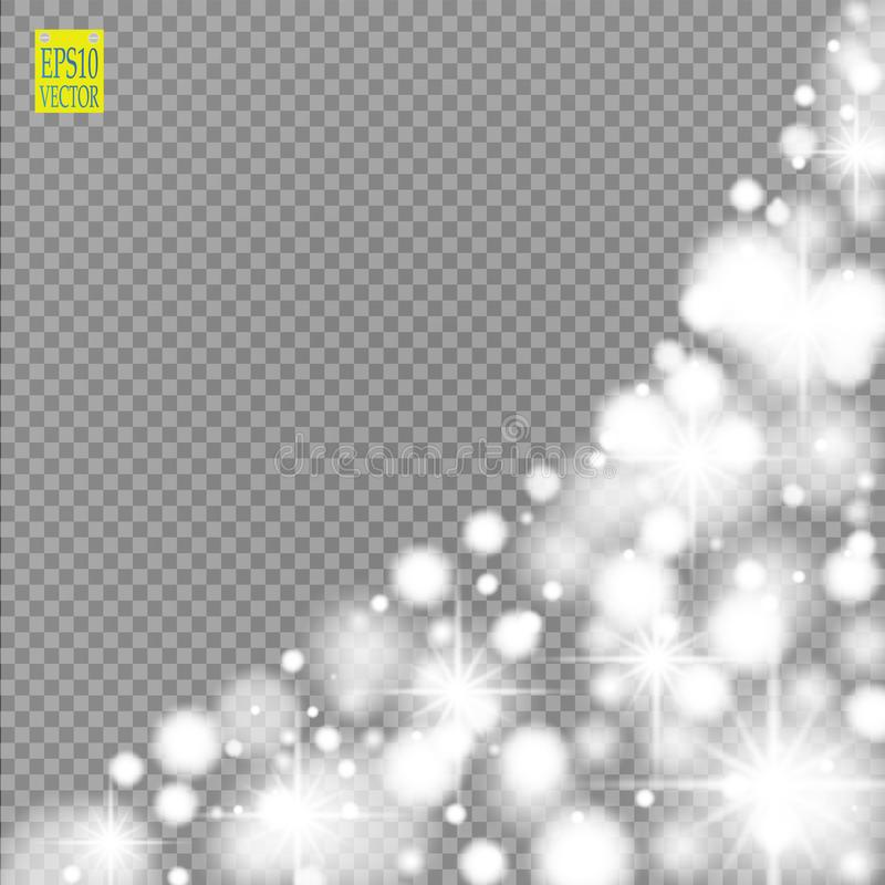 Snow, star, glitter line on a transparent background. Vector illustration . Abstract snowflake background. Festive shine royalty free illustration