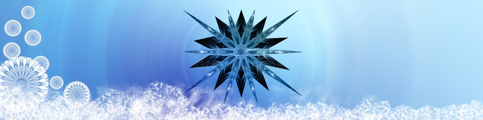 Snow, star and snowflakes. Blue banner / header with snow decorative snowflakes and a big star stock illustration
