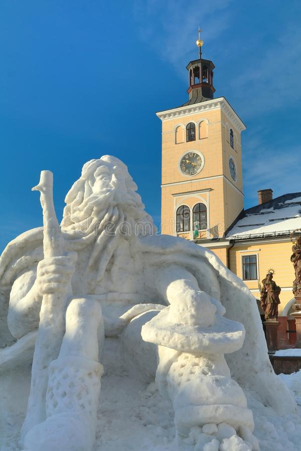 Snow statue of Giant mountains ruler in Jilemnice city stock image