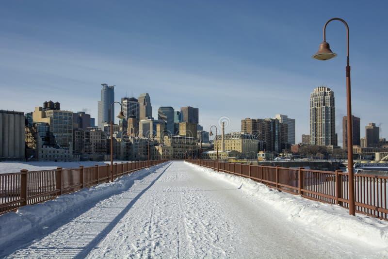 Snow on the Stone Arch Bridge, Minneapolis, Minnesota, USA stock photos