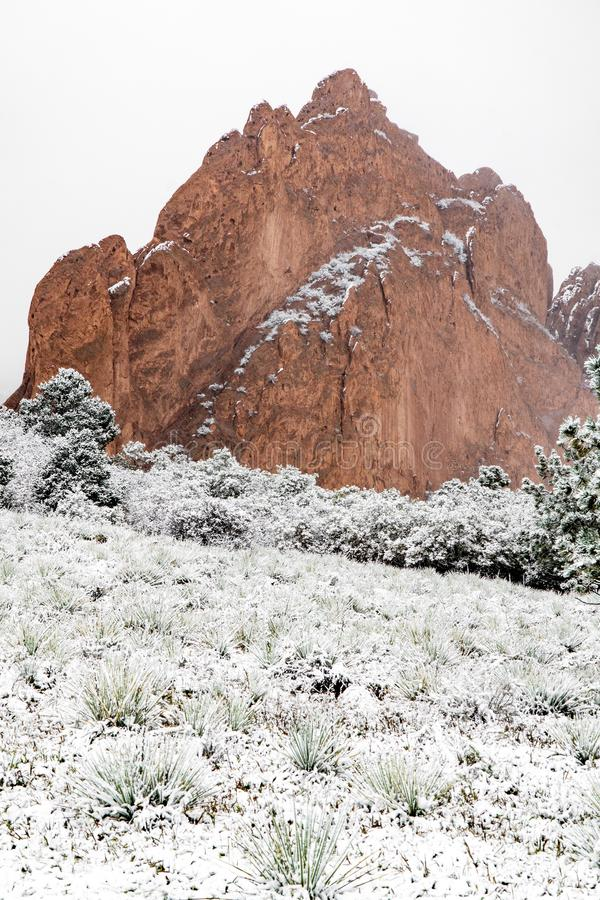 Blizzard at garden of the gods colorado springs rocky mountains during winter covered in snow royalty free stock image